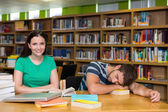 Students studying together in the library — Stock Photo