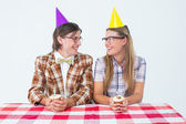 Geeky hipsters celebrating birthday — Stock Photo