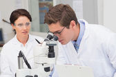 Scientists looking attentively in microscope — Stock Photo