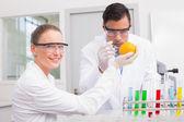 Scientists injecting orange — Fotografia Stock