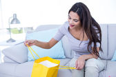 Smiling beautiful brunette sitting on the couch with shopping ba — Stock Photo