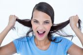 Furious woman pulling her hair  — Stock Photo