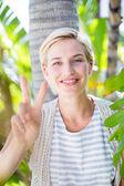 Pretty blonde woman smiling — Stock Photo