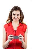 Brunette woman sending text message — Stock Photo