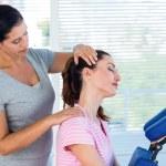 Woman having neck massage — Stock Photo #73430649