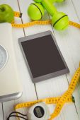 Tablet with indicators of healthy lifestyle — Stock Photo