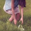 Happy woman pouring water over flowers — Stock Video #73495989