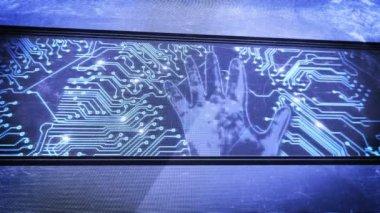 Cópia da mão e placas de circuito — Vídeo stock