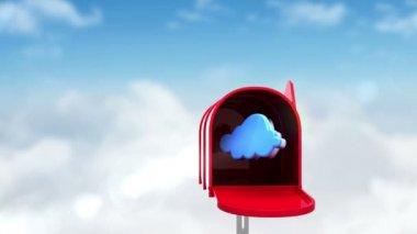 Ikony Internet v poštovní schránce na kulise — Stock video