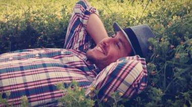 Handsome man relaxing — Stock Video