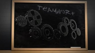 Cogs and wheels turning on blackboard — Vidéo