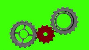 Engrenagens e rodas girando na tela verde — Vídeo stock