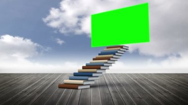 Green screen with stair — Stock Video