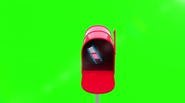 Cloud icon in the mailbox on green background — Stock Video