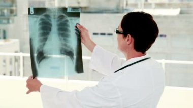 Doctor analyzing xray results — Stock Video