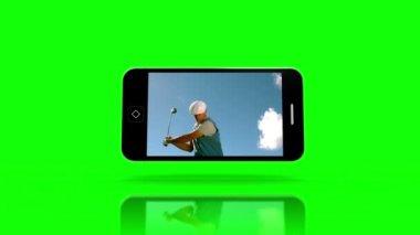 Golf gösterilen medya aygıtı ekranlar — Stok video