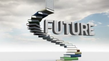 Businessman looking at steps made of books with a floating word in the sky — Stock Video
