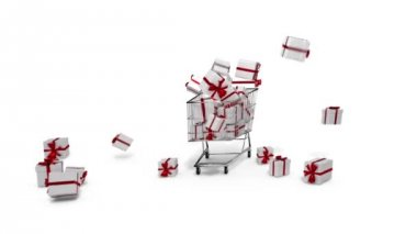 Gifts dropping in the trolley on white background — Stock Video