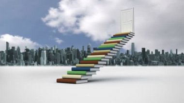Steps made of books in front of a city — Stock Video