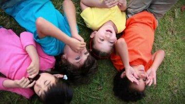 Children having fun in the park — Stock Video