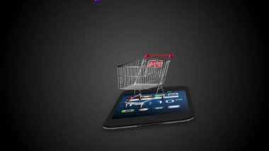 Icons dropping in the trolley on black background — Stock Video