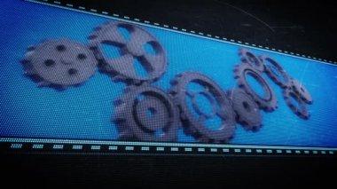 Cogs and wheels in pixel design — Video Stock