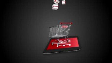 Presents falling in trolley — Stock Video
