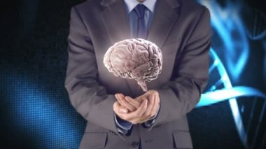 Businessman presenting brain with hands — Stock Video