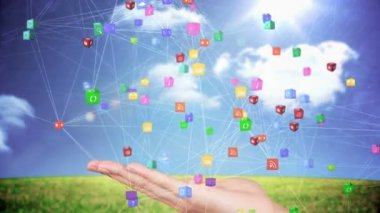Hand presenting a tech app design — Stock Video
