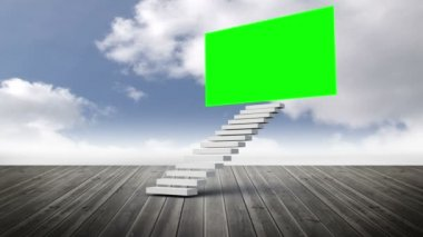 Stair with a green screen on a wood ground — Stock Video