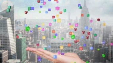 Hand presenting a tech app design — Stok video