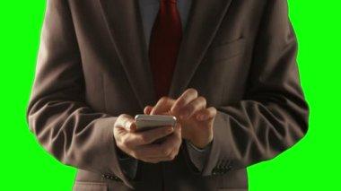 Businessman using his smartphone — Stock Video