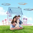 Composite image of happy family with puppy — Stock Photo #76119497