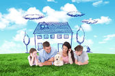 Composite image of family looking at puppy while lying — Stock Photo