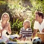 Happy family having a picnic — Stock Photo #76120999