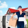 Happy delivery woman holding cardboard box — Stock Photo #76123049