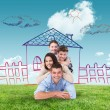 Composite image of family lying on top of each other — Stock Photo #76123261