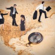 Business people balancing act against world map — Stock Photo #76125887