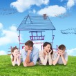 Composite image of family lying with head in hands — Stock Photo #76128553