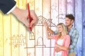 Составное изображение охватывает привлекательных молодая пара — Стоковое фото