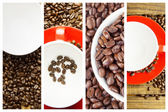Composite image of coffee beans and mugs — Stock Photo