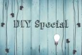 Diy special against plugs on wooden background — Stock Photo