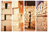 Composite image of cardboard boxes in warehouse — Stock Photo