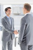 Business colleagues greeting each other — Stock Photo