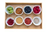 Healthy food on a tray — Stock Photo