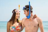 Couple have fun at beach — Stock Photo