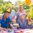 Happy family celebrating a birthday — Stock Photo #76341245