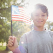 Little boy waving american flag — Stock Photo #76342433