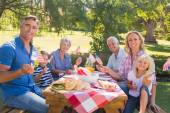 Family having picnic and holding american flag — Stock Photo