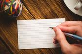 Hand writing on the flashcard — Stock Photo